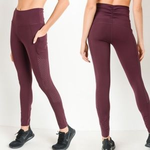5b02f3cc5a3 Mono B Plum Yoga Pants With Pockets Mesh DJ6118